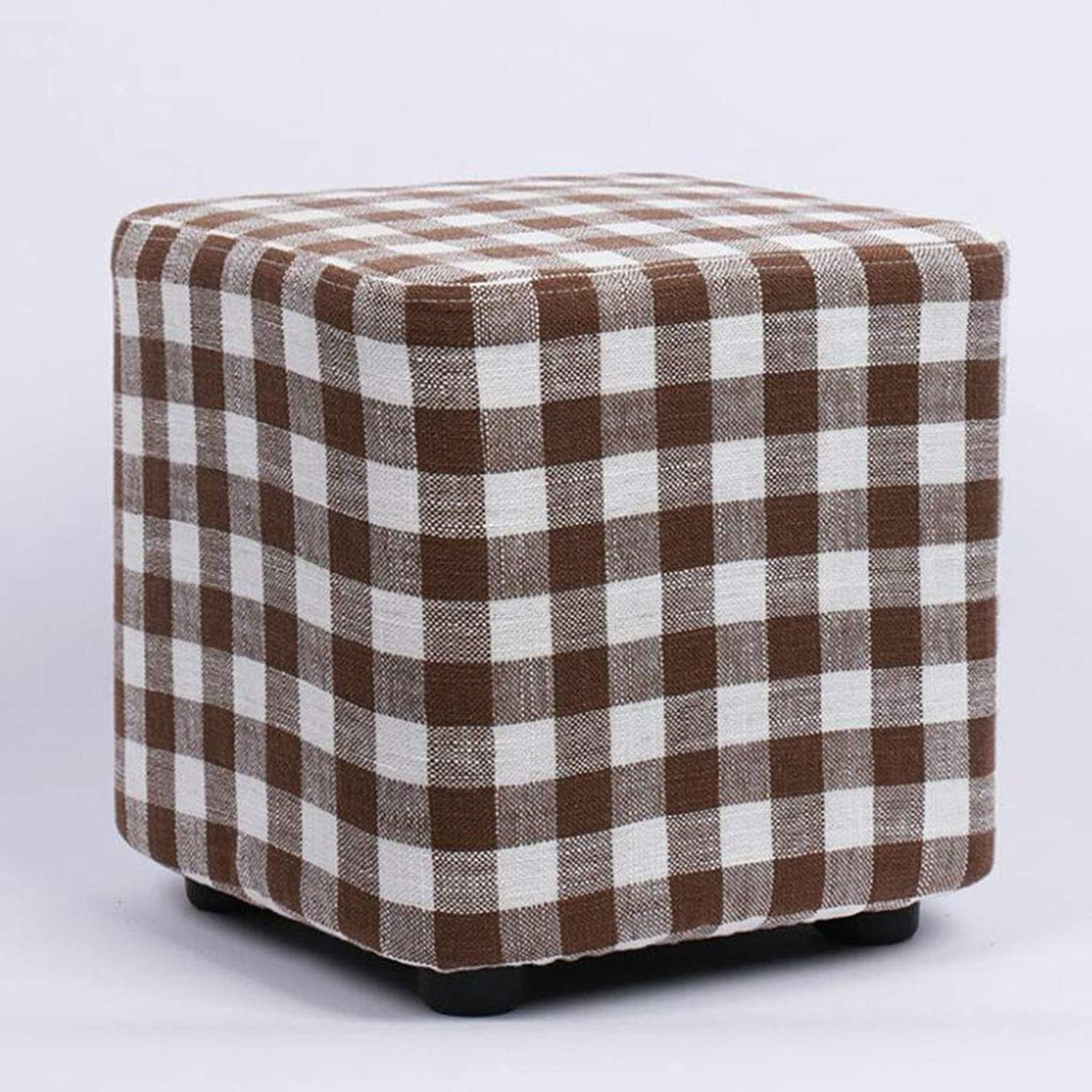 Fabric Sofa Stool 28  28  28cm Solid Wood Square Stool Fashion shoes Stool Creative shoes Bench Fabric Stool Stool Sofa Stool Coffee Table Bench V (color   A9)