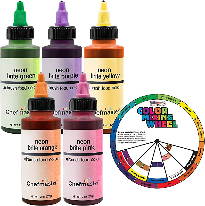 Chefmaster By US Cake Supply 2 3 Ounce Neon Airbrush Cake Food Colors 5 Bottle Kit With Color Mixing Wheel