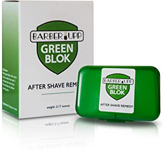 BarberUpp Alum Block, After Shave,100% Alum, Shaving Accessory, (3.5 oz / 100 grams) Storage Case Included,Styptic skin soothing Alum Green Blok.