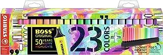 Surligneur - STABILO BOSS ORIGINAL - Set de bureau x 23 surligneurs - fluo et pastel assortis