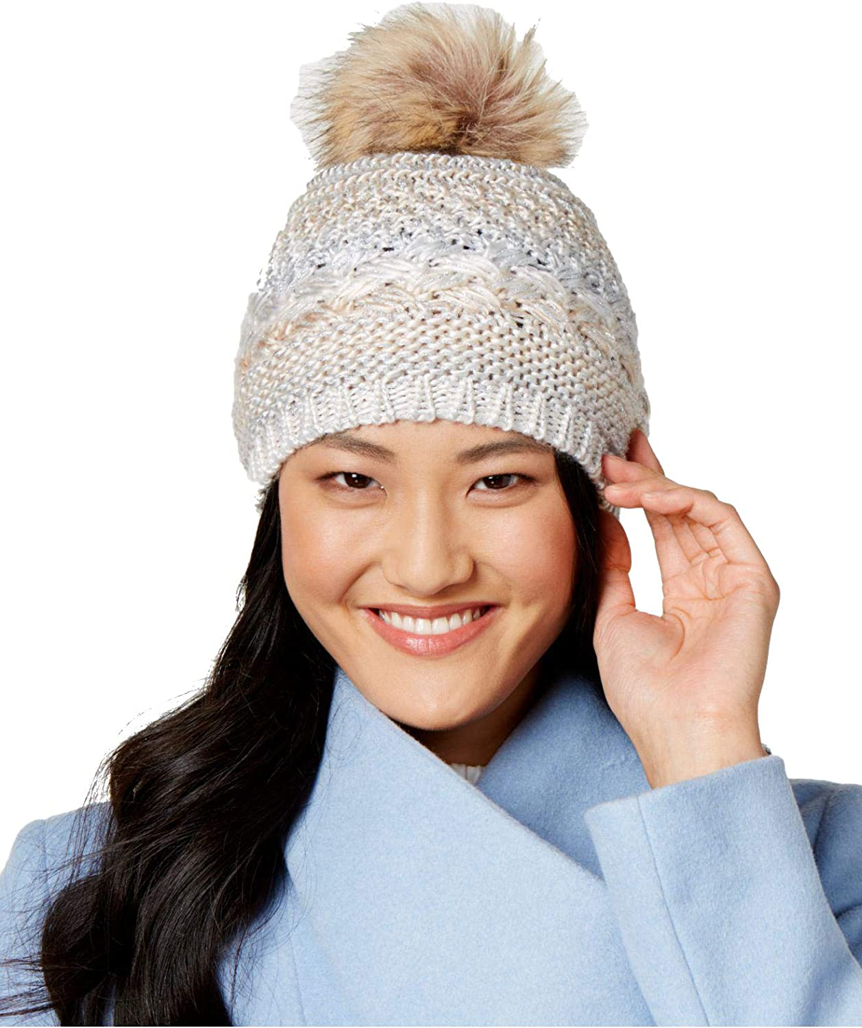 INC International Concepts Metallic SpaceDyed Beanie, Ivory Silver, One Size