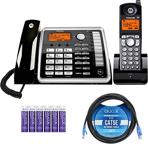 high quality Motorola online lowest ML25260 DECT 6.0 Expandable Corded 2-Line Business Phone with Speakerphone & Caller ID/Call WaitingBundle with ML25055 Cordless Handset, Blucoil 10' Cat5e Cable, and 6 AAA Batteries sale