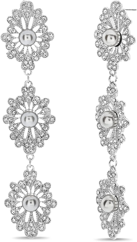 Badgley Mischka Antique Style Rhinestone Simulated Pearl Dangle Drop Earrings for Women