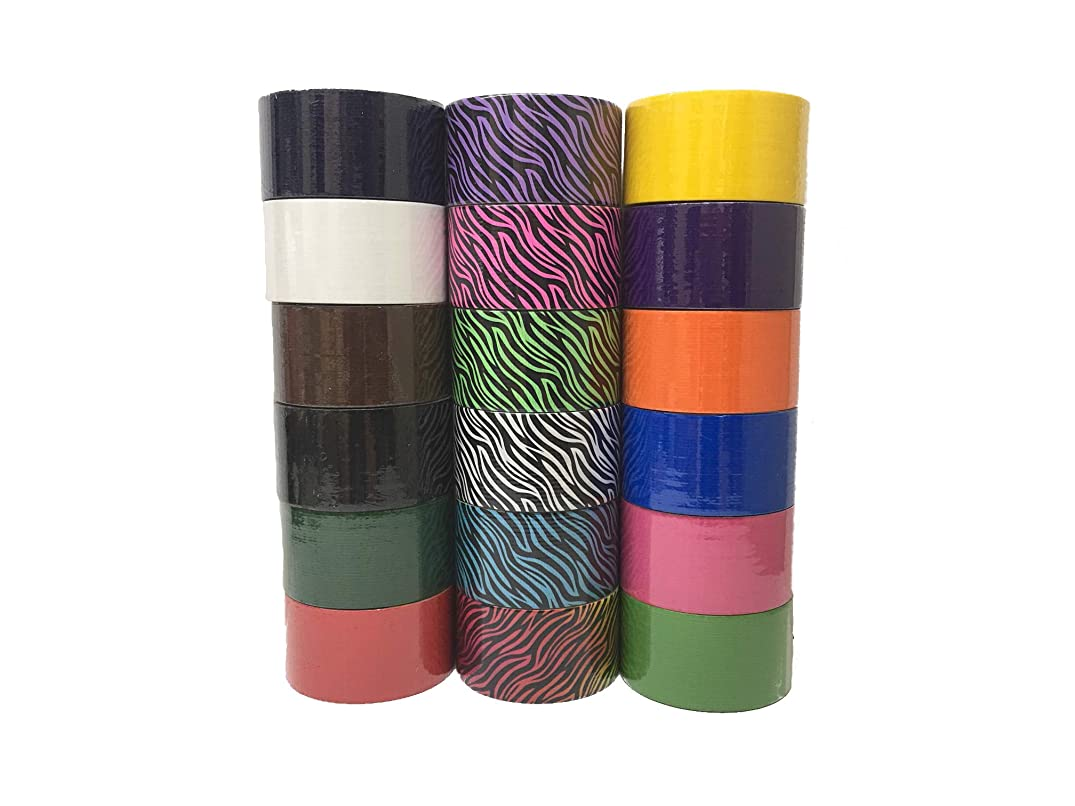 18 Roll Variety Pack Print and Solid Colors (Brights and Regular Colors) of All Purpose Duct Tape