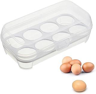 VITA PERFETTA Boîte à Oeufs Protège des Chocs pour 8 Oeufs- Support d'Oeufs Boîte de Rangement Alimentaire en Plastique Or...