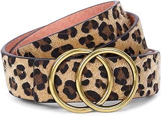 Womens Leopard Belt SANSTHS Ladies Leopard Print Leather Waist Belt for Jeans Pants