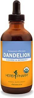 Herb Pharm Certified Organic Dandelion Liquid Extract for Cleansing and Detoxification, Organic Cane Alcohol, 4 Ounce