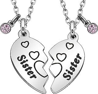 JQFEN Sister Gfits Necklace Women Jewelry 2 Pcs Heart Pendant Necklace Friendship Gift