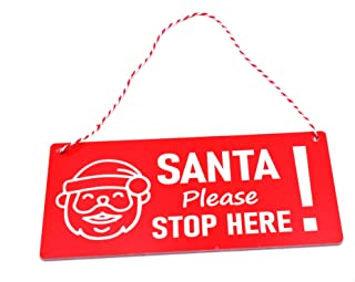 Personalised Santa Stop Here Christmas Xmas Sign Decoration Hang in Your Window or on Front Door Customised