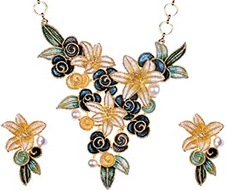 Stargazer Lily Flower Hand Painted Golden Tone Pearl Bead Necklace Earring Set