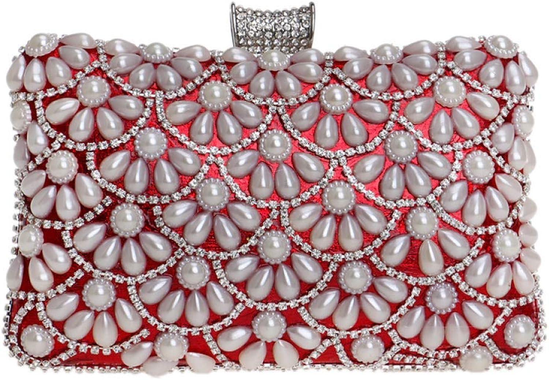 AHIMITSU Tote Damen Clutch Bag Pearl Diamond Diamond Diamond Flower Dress Abendtasche Hochzeit Handtasche Party Prom Handtaschen für Frauen (Farbe   rot, Größe   20  6  12cm) B07PGF4VTS  Bequeme Berührung 0d28b3