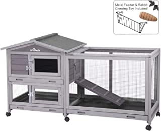 Aivituvin Rabbit Hutch Indoor and Outdoor Bunny cage on Wheels with 3 Deep No Leakage..