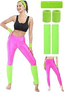 80s Neon Leggings Party Retro Jogging Sports Headband...