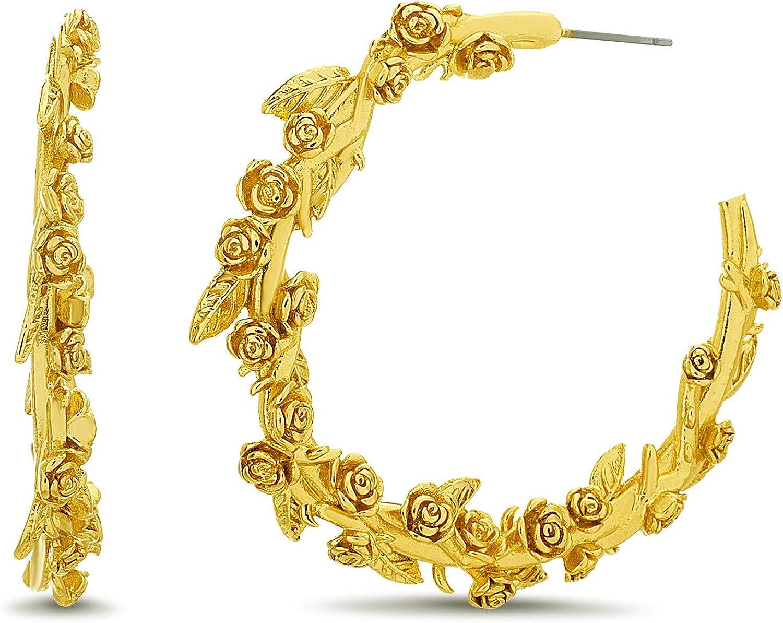 Steve Madden Yellow Gold Plated Polished Rose Flower Vine Open Hoop Earrings For Women