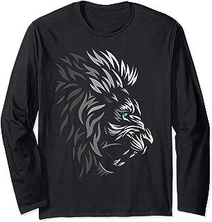 Tribal lion profile Long Sleeve T-shirt tattoo style cute