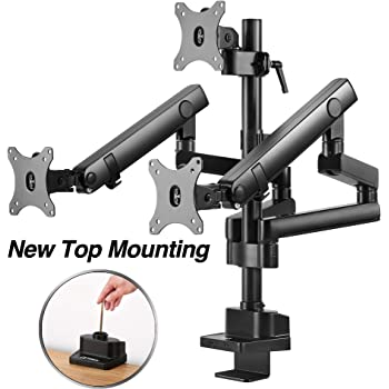 """AVLT Triple 13""""-27"""" Monitor Arm Desk Mount fits Two Flat/Curved Monitor Full Motion Height Swivel Tilt Rotation Adjustable Monitor Arm - Extra Tall/VESA/C-Clamp/Grommet/Cable Management"""