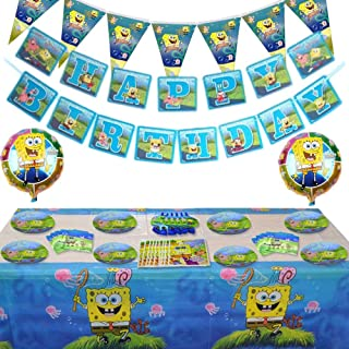 85 Pcs Spongebob Birthday Party Supplies and Decorations Set of Kids,Girls and Boys Party Suppliers Favor 1st Under8, Incl...