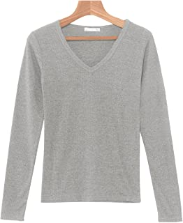 (パークガール) PARK GIRL テレコ素材無地Vネック長袖カットソー レディース 大きいサイズ M/L 564690000b