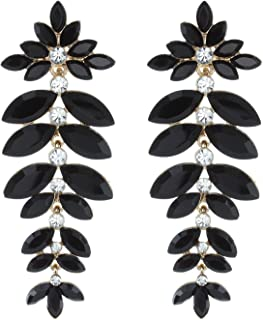 Floral Leaf Drop Crystal Burst Clip-On Dangle Women's Fashion Statement Earrings