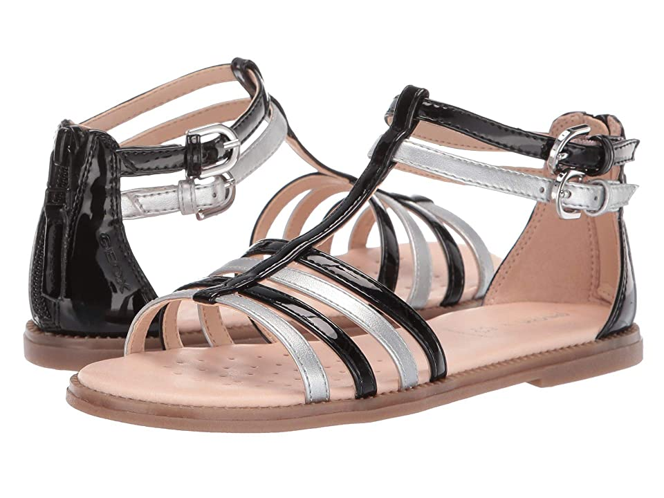 Geox Kids Sandal Karly Girl 28 (Little Kid/Big Kid) (Black/Silver) Girl