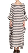 Mordenmiss Women's Cotton Linen Dress Stripes Plus Size Dresses
