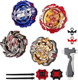infinitoo Set of 4 Fighter Gyroscope 4D Fusion, Burst Evolution Combination Series 4D with 2 Launcher   Blade Best Gift fo...