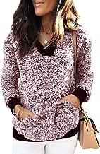 Ivay Women's Cozy Fluffy Fleece Sweatshirt Pullover Outwear with Pockets