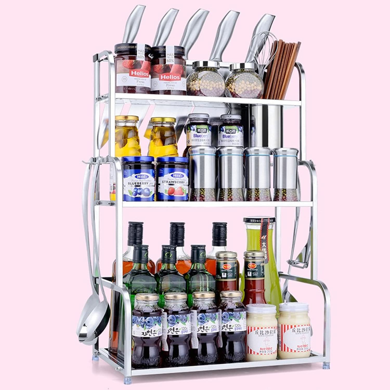Kitchen Condiment Storage Shelf - Seasoning Shelf Knife Holder Stainless Steel Storage Shelf, with Hooks and Chopsticks Cup -by TIANTA (color   Three Layers, Size   40cm)