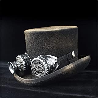 Songlin @ yuan Top hat 100% Wool Men's Dress hat hat Wearing Glasses Fedoras Rock Band Cap Retro Paint Steampunk Magician Cap (Color : Black, Size : 61CM)
