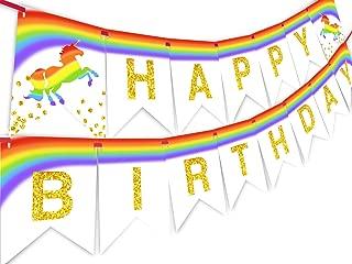 Unicorn Brights Rainbow Happy Birthday Banner Pennant