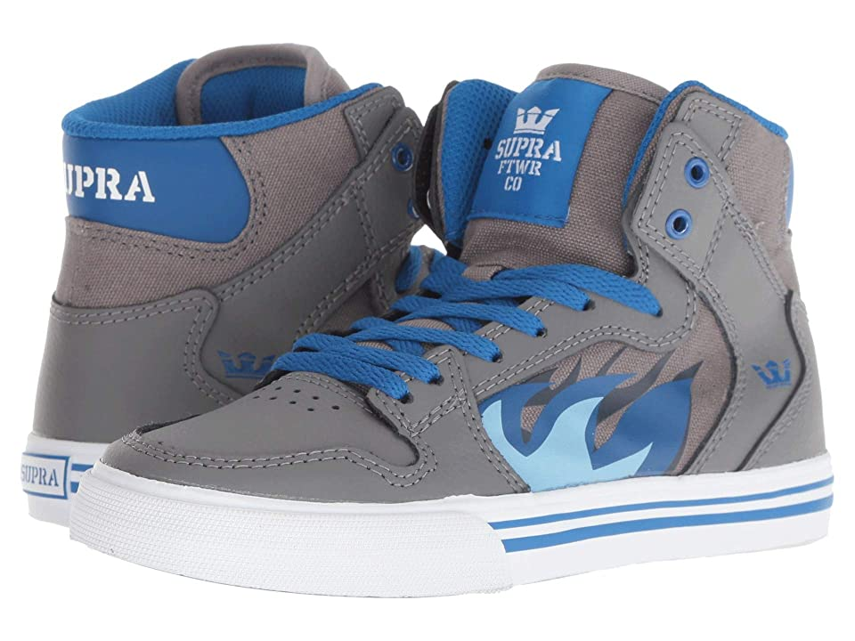 Supra Kids Vaider (Little Kid/Big Kid) (Grey/Blue Flame/White) Boys Shoes