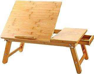 ノートパソコンデスク 竹製 ベッドテーブル ローテーブル 折りたたみ式 多機能 角度&高さ調節可能 収納付き ナチュラル