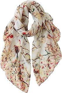 GERINLY روسری برای زنان پرندگان گل سبک وزن چاپ سر شال سر