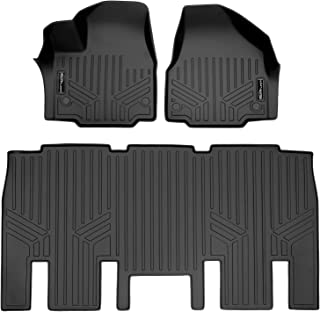 SMARTLINER Custom Floor Mats 2 Row Liner Set Black for 2017-2019 Chrysler Pacifica 8 Passenger Model Only (No Hybrid Models)