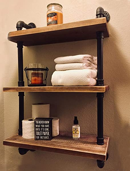 FODUE Industrial Pipe Shelving Bookshelf Rustic Modern Wood Ladder Storage Shelf 3 Tiers Retro Wall Mount Pipe Design DIY Shelving 24inch