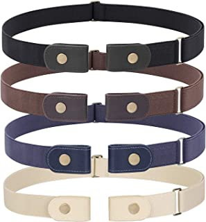 3 Pieces 4 Pieces Buckle Free Adjustable Women Belt, WHIPPY No Buckle Invisible Elastic Belt for...