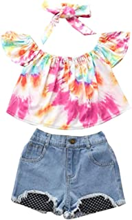 Baby Girl 3-Piece Outfit Set Fashion Tie-dye Tops+Denim Shorts+Headband Summer Clothes