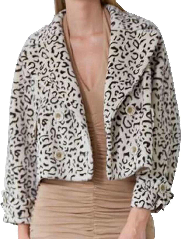 Women Leopard Faux Fur Coat,FUZZY DOUBLE BREASTED COAT