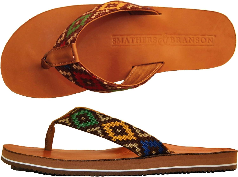 Smathers & Branson Handstiched Needlepoint Men's Flip Flop Sandals