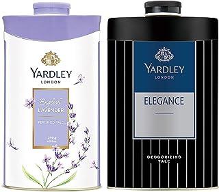Yardley London - English Lavender Perfumed Talc for Women, 250g & Yardley London - Elegance Deodorizing Talc for Men, 250g