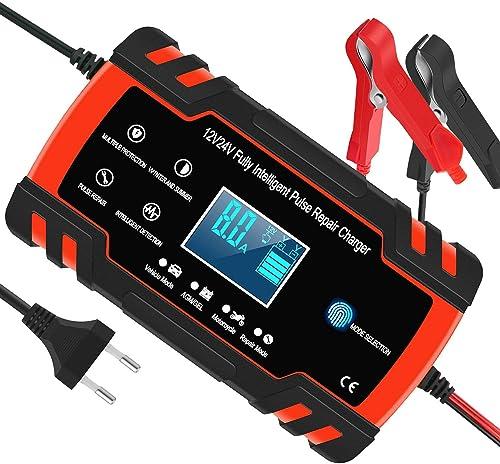Chargeur de Batterie pour Voiture et Moto Intelligent 8A 12V/24V, Mainteneur de Chargeur Batterie Voiture, 3 Étapes d...