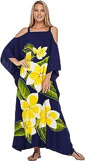 SHU-SHI Womens Kaftan Dress Maxi Beach Cover Up Cold Shoulder Plus Size Caftan Floral Coverup
