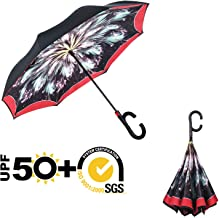 MASTERCANOPY Inverted Umbrella,Double Layer Reverse Windproof Teflon Repellent Umbrella for Car and Outdoor Use, UPF 50+ Big Stick Umbrella with C-Shaped Handle and Carrying Bag