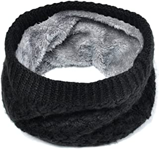 Harsh Winter Double-Layer Soft Fleece Lined Thick Knit Neck Warmer Circle Scarf Windproof
