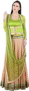 Devaleena Creations Old saree Border-Fawn Lehenga- green Koti style blouse-sequined Dupaatta for Girls
