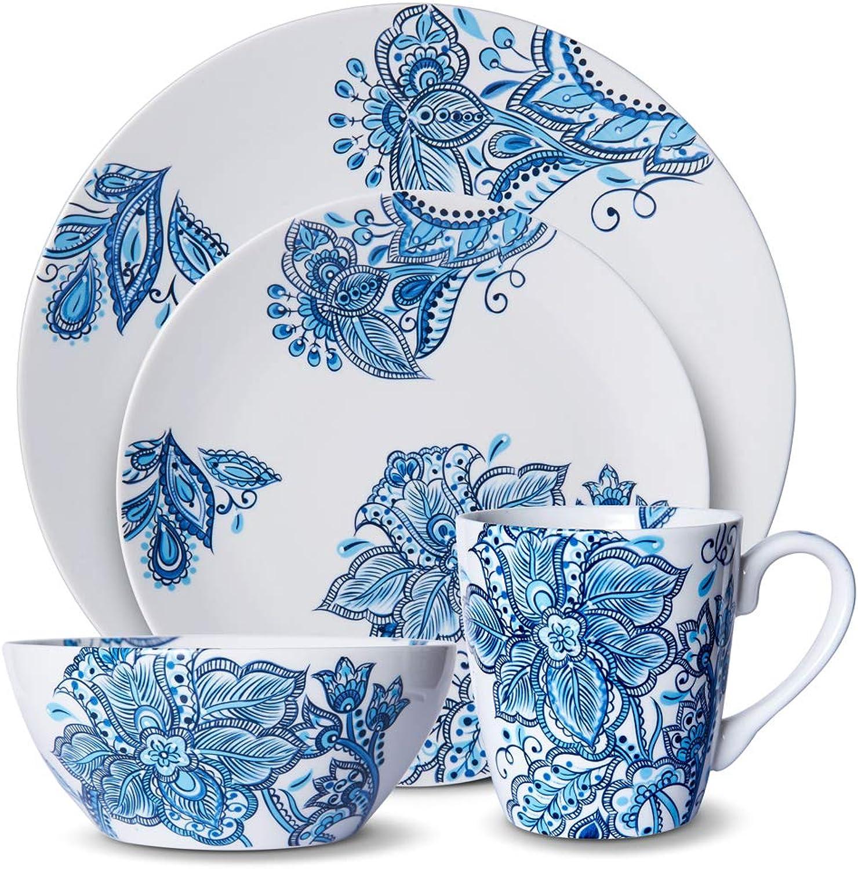 Pfaltzgraff 5229618 Arden 16-Piece Porcelain Dinnerware Set, Service for 4, bluee White