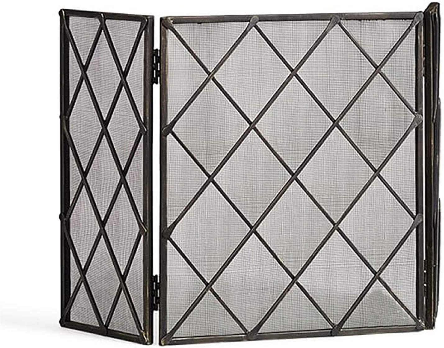 Chicago Mall Fireplace Screens wholesale 3-Panels Flat Foldable Solid Steel Spark Guar