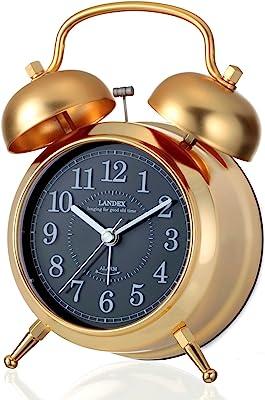 ランデックス(Landex) 目覚まし時計 アナログ カンパネラ 常時点灯 ゴールド YT5230GD