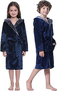 Abollria Kids Flannel Hooded Bathrobe Sleepwear Robes for Boys and Girls Loungewear