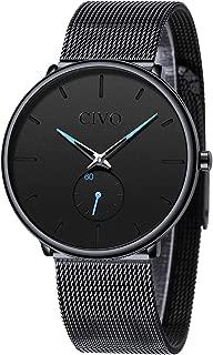 Reloj Negro Ultra Fino para Hombre Minimalista Moda Relojes de Pulsera para Hombres Vestir Casual Impermeable Reloj de Cuarzo para Hombre con Banda Negro de Acero Inoxidable